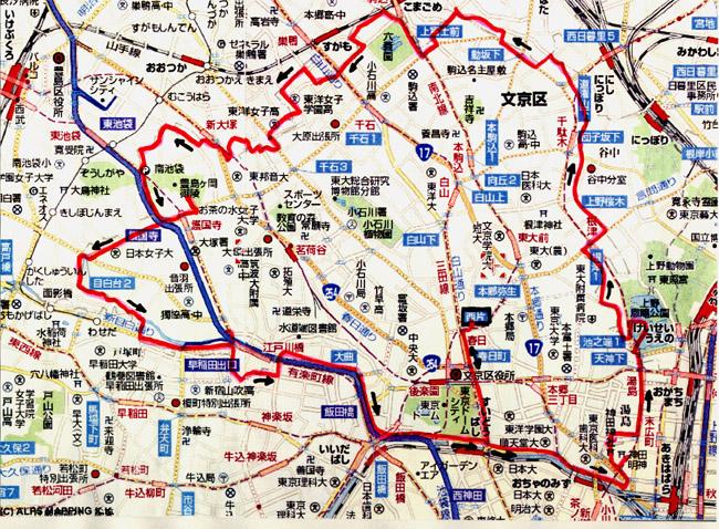 文京区一周地図